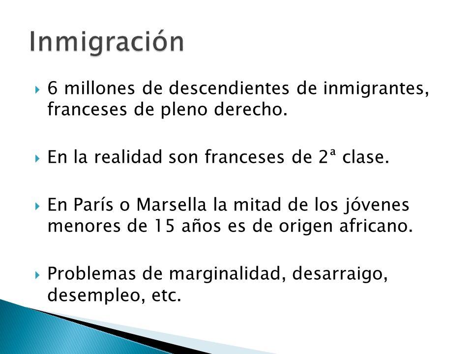 6 millones de descendientes de inmigrantes, franceses de pleno derecho. En la realidad son franceses de 2ª clase. En París o Marsella la mitad de los