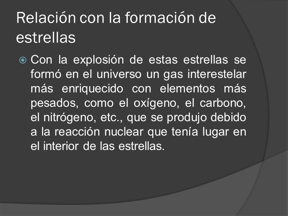 Relación con la formación de estrellas Con la explosión de estas estrellas se formó en el universo un gas interestelar más enriquecido con elementos más pesados, como el oxígeno, el carbono, el nitrógeno, etc., que se produjo debido a la reacción nuclear que tenía lugar en el interior de las estrellas.