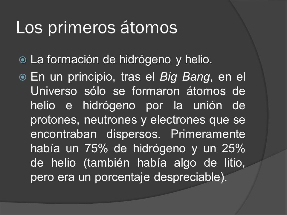 Los primeros átomos La formación de hidrógeno y helio. La formación de hidrógeno y helio. En un principio, tras el Big Bang, en el Universo sólo se fo
