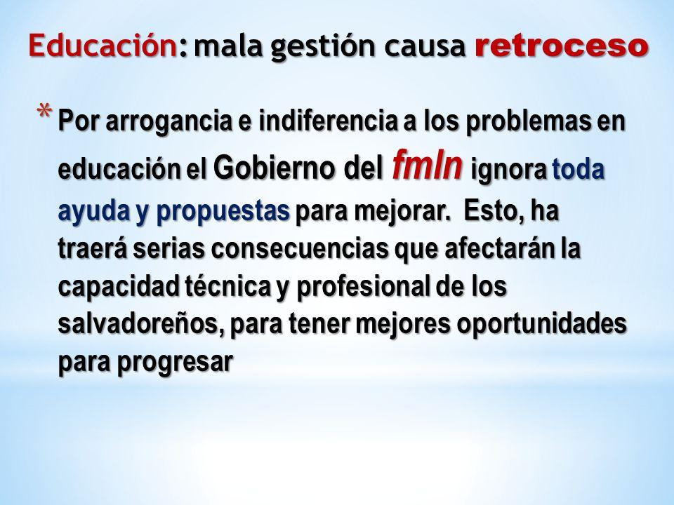 * Por arrogancia e indiferencia a los problemas en educación el Gobierno del fmln ignora toda ayuda y propuestas para mejorar. Esto, ha traerá serias