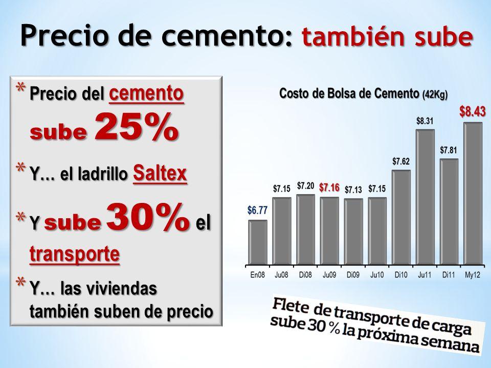 * Precio del cemento sube 25% * Y… el ladrillo Saltex * Y sube 30% el transporte * Y… las viviendas también suben de precio Precio de cemento : tambié