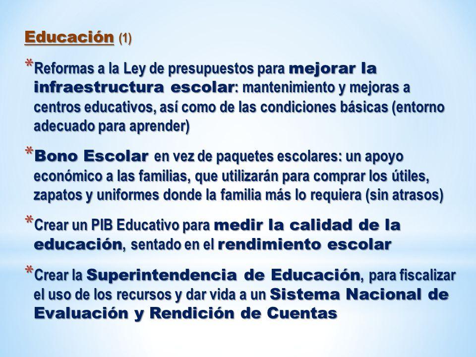 Educación (1) * Reformas a la Ley de presupuestos para mejorar la infraestructura escolar : mantenimiento y mejoras a centros educativos, así como de