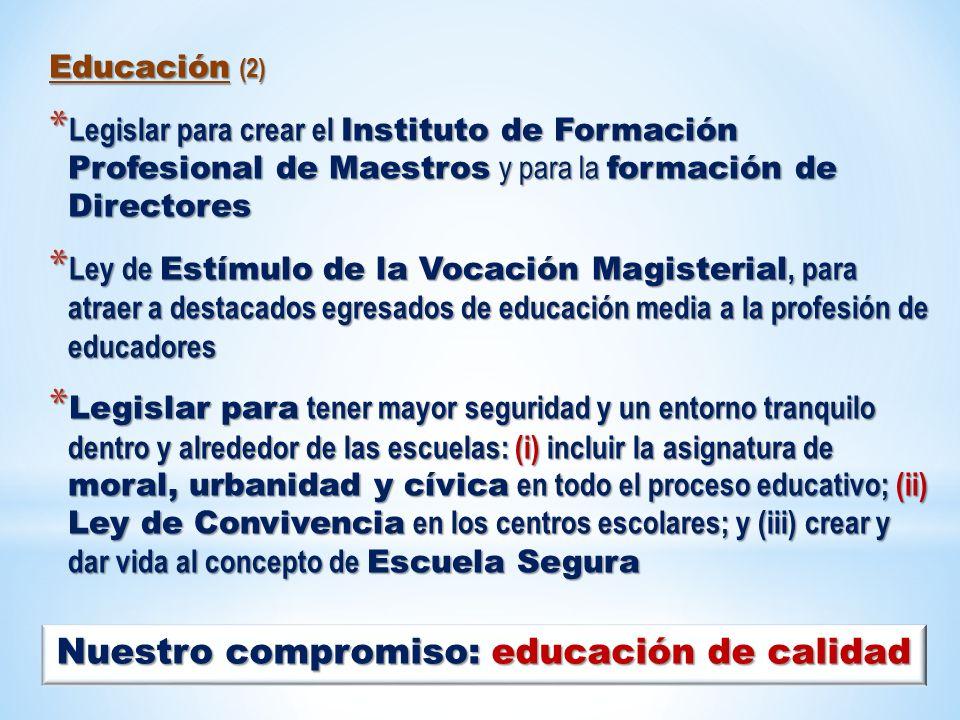 Educación (2) * Legislar para crear el Instituto de Formación Profesional de Maestros y para la formación de Directores * Ley de Estímulo de la Vocaci
