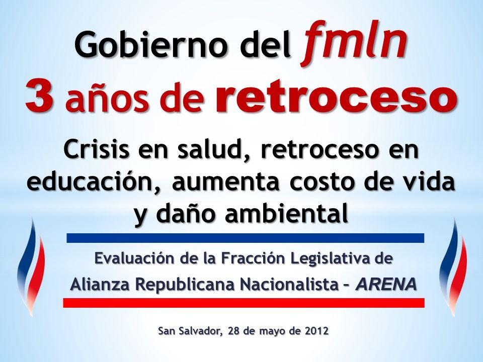 Evaluación de la Fracción Legislativa de Alianza Republicana Nacionalista – ARENA San Salvador, 28 de mayo de 2012 Gobierno del fmln 3 años de retroce