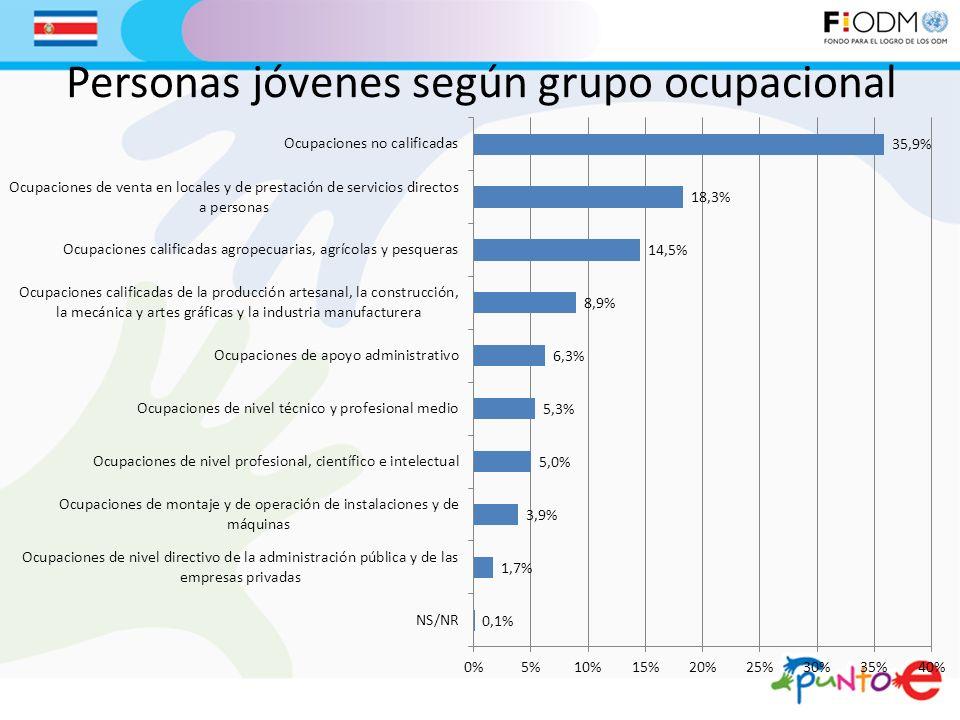Personas jóvenes según grupo ocupacional