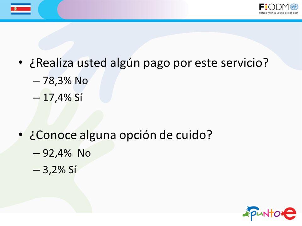 ¿Realiza usted algún pago por este servicio? – 78,3% No – 17,4% Sí ¿Conoce alguna opción de cuido? – 92,4% No – 3,2% Sí