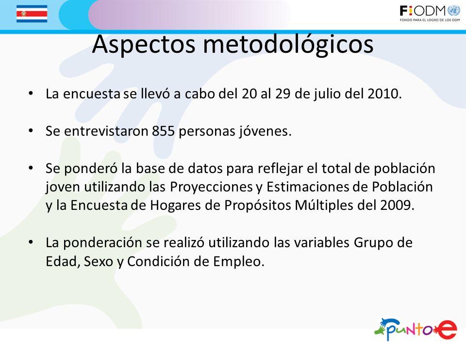 Aspectos metodológicos La encuesta se llevó a cabo del 20 al 29 de julio del 2010. Se entrevistaron 855 personas jóvenes. Se ponderó la base de datos