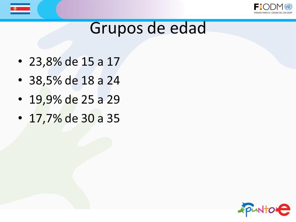 Grupos de edad 23,8% de 15 a 17 38,5% de 18 a 24 19,9% de 25 a 29 17,7% de 30 a 35