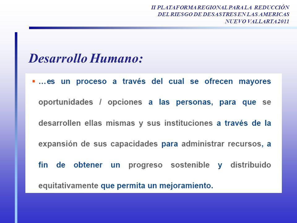 Desarrollo Humano: II PLATAFORMA REGIONAL PARA LA REDUCCIÓN DEL RIESGO DE DESASTRES EN LAS AMERICAS NUEVO VALLARTA 2011