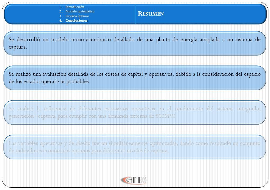 1.Introducción 2.Modelo matemático 3.Diseños óptimos 4.Conclusiones R ESUMEN Se desarrolló un modelo tecno-económico detallado de una planta de energí