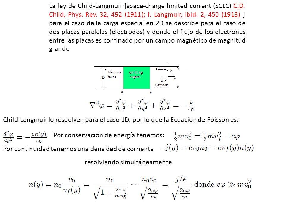 Con lo que se obtiene (nota j < 0 por la carga de los electrones): Para el caso de dos placas con diferencia de potencial y distancia D, despejando j se obtiene la ley de Child-Langmuir: Ahora bien, en nuestro caso sera para 2D