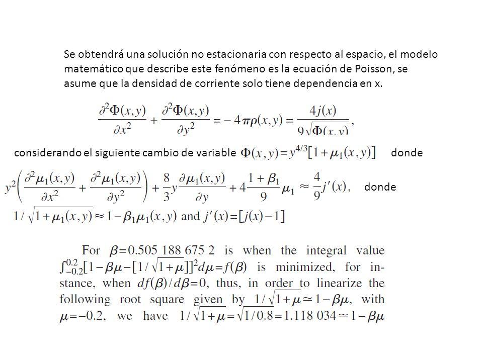 Se obtendrá una solución no estacionaria con respecto al espacio, el modelo matemático que describe este fenómeno es la ecuación de Poisson, se asume