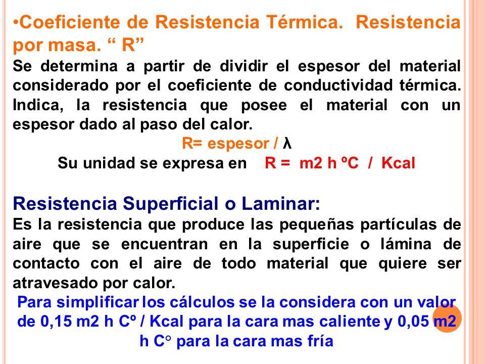 Coeficiente de Resistencia Térmica. Resistencia por masa. R Se determina a partir de dividir el espesor del material considerado por el coeficiente de