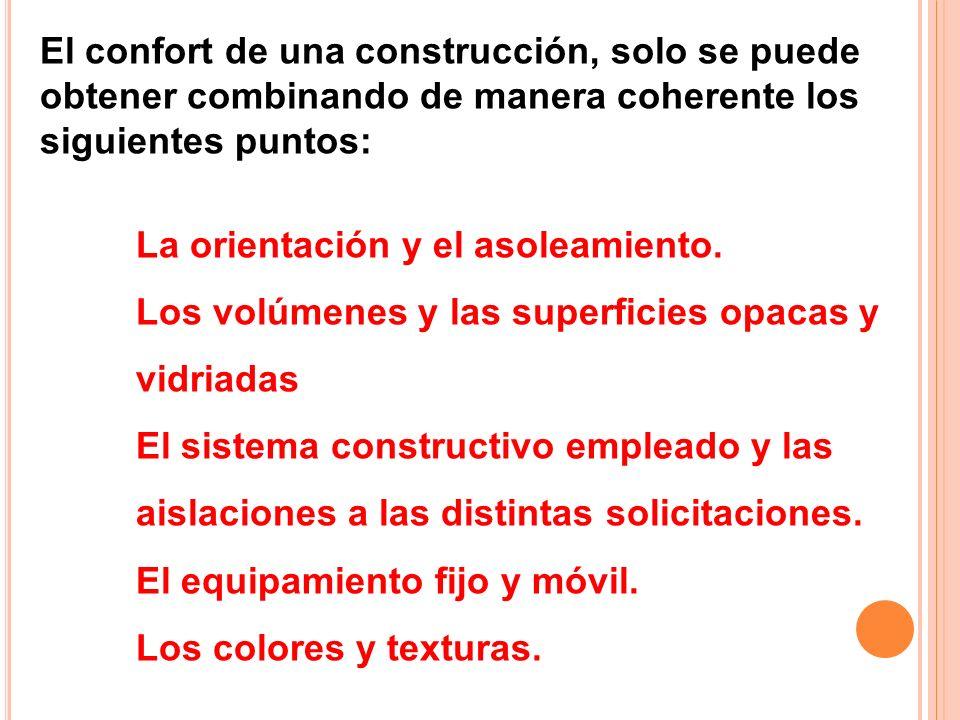 El confort de una construcción, solo se puede obtener combinando de manera coherente los siguientes puntos: La orientación y el asoleamiento. Los volú