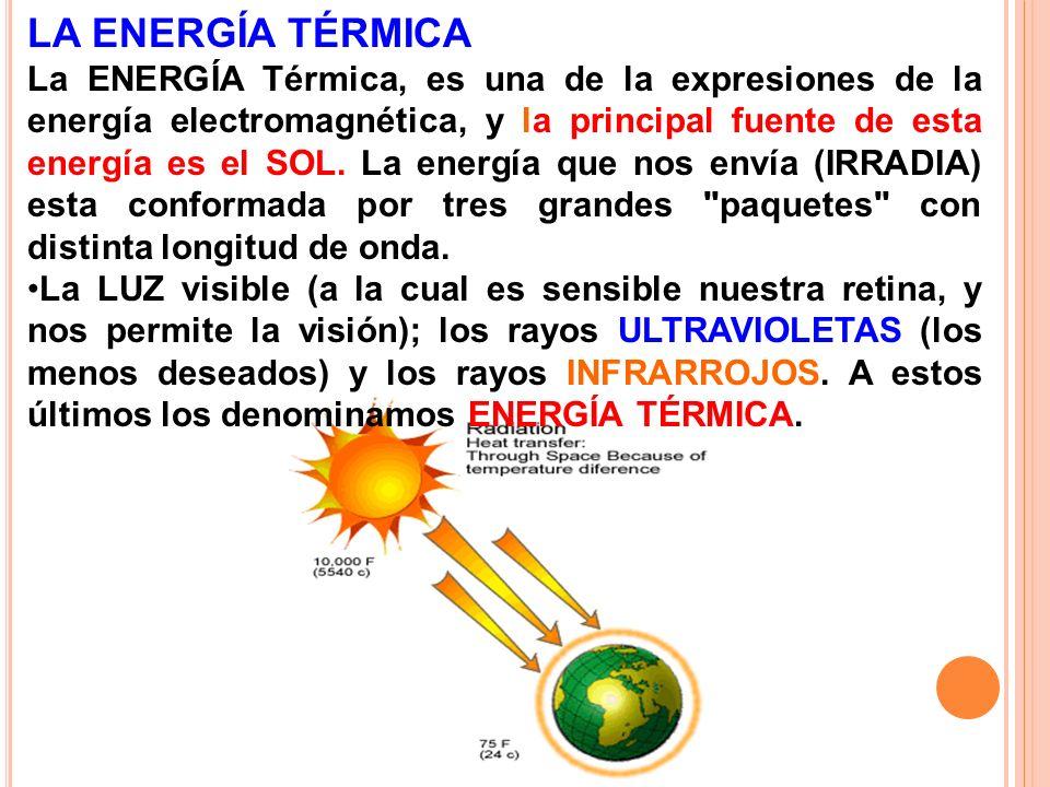 LA ENERGÍA TÉRMICA La ENERGÍA Térmica, es una de la expresiones de la energía electromagnética, y la principal fuente de esta energía es el SOL. La en
