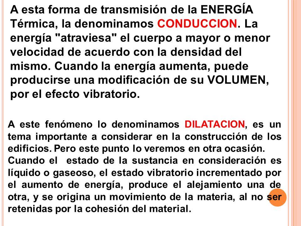 A esta forma de transmisión de la ENERGÍA Térmica, la denominamos CONDUCCION. La energía
