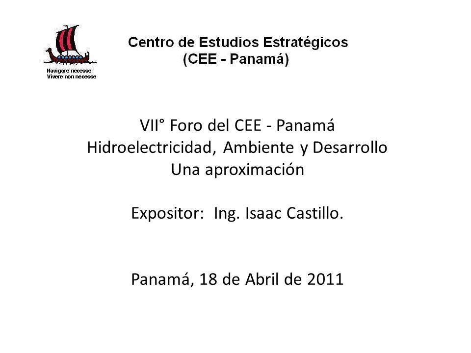 VII° Foro del CEE - Panamá Hidroelectricidad, Ambiente y Desarrollo Una aproximación Expositor: Ing.