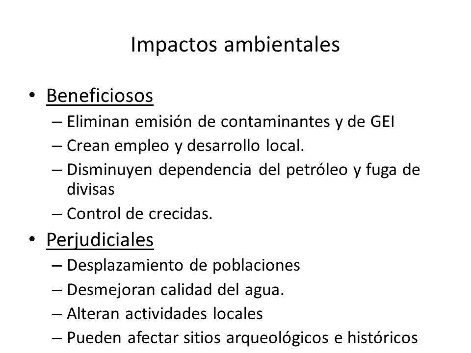 Impactos ambientales Beneficiosos – Eliminan emisión de contaminantes y de GEI – Crean empleo y desarrollo local.