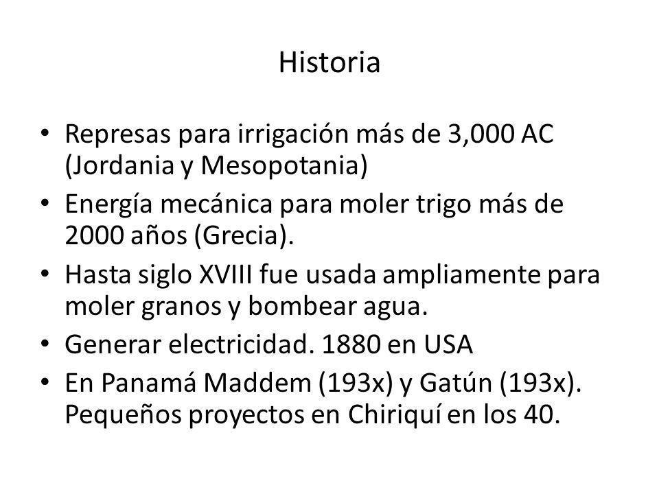 Historia Represas para irrigación más de 3,000 AC (Jordania y Mesopotania) Energía mecánica para moler trigo más de 2000 años (Grecia).