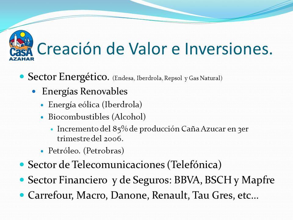 Creación de Valor e Inversiones. Sector Energético.