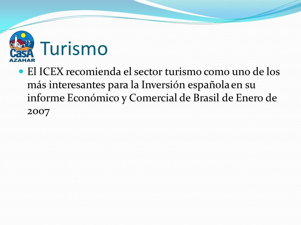 Turismo El ICEX recomienda el sector turismo como uno de los más interesantes para la Inversión española en su informe Económico y Comercial de Brasil de Enero de 2007