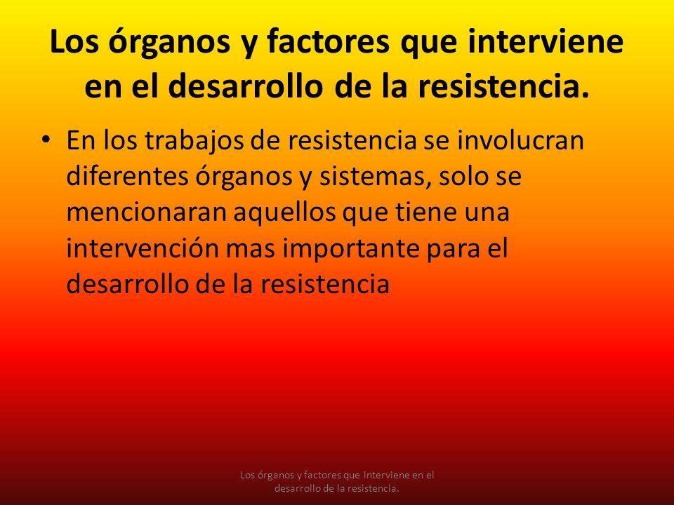 Los órganos y factores que interviene en el desarrollo de la resistencia. En los trabajos de resistencia se involucran diferentes órganos y sistemas,