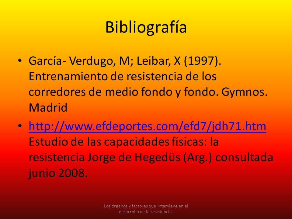 Bibliografía García- Verdugo, M; Leibar, X (1997). Entrenamiento de resistencia de los corredores de medio fondo y fondo. Gymnos. Madrid http://www.ef