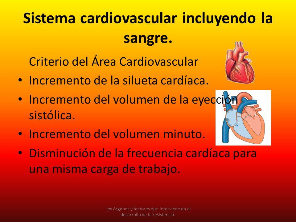 Sistema cardiovascular incluyendo la sangre. Criterio del Área Cardiovascular Incremento de la silueta cardíaca. Incremento del volumen de la eyección
