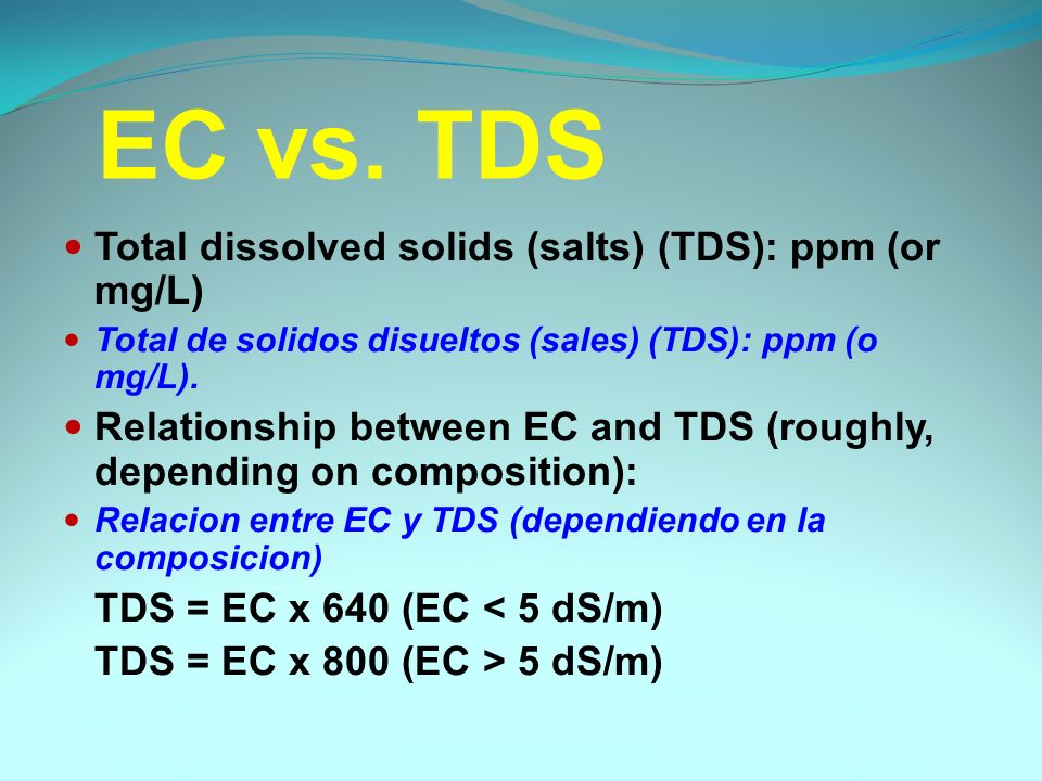 Total dissolved solids (salts) (TDS): ppm (or mg/L) Total de solidos disueltos (sales) (TDS): ppm (o mg/L).