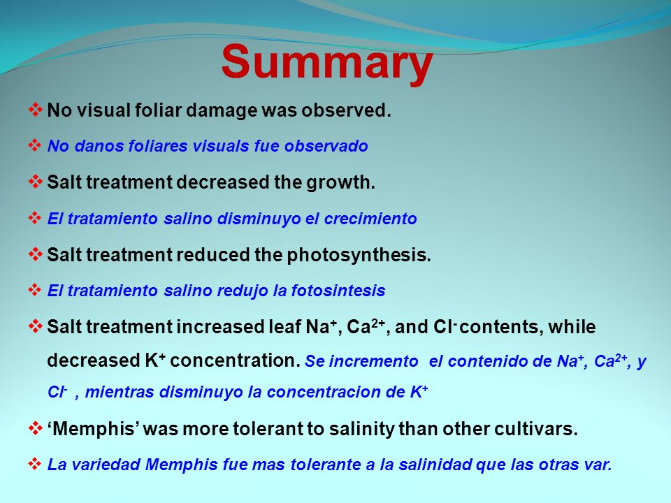 Summary No visual foliar damage was observed.