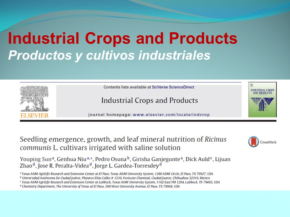 Industrial Crops and Products Productos y cultivos industriales