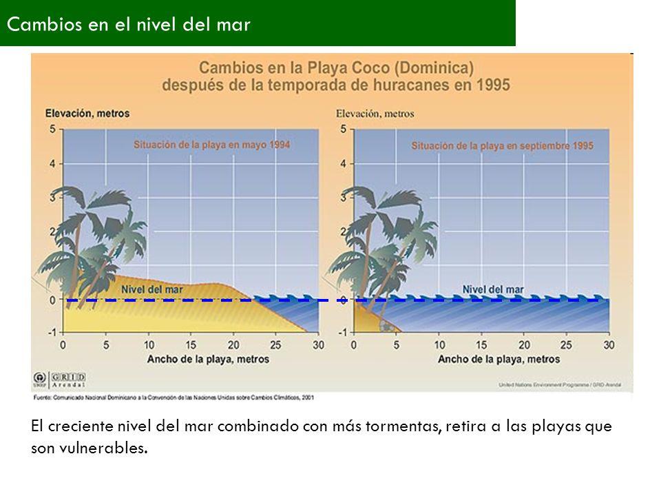 Cambios en el nivel del mar El creciente nivel del mar combinado con más tormentas, retira a las playas que son vulnerables.