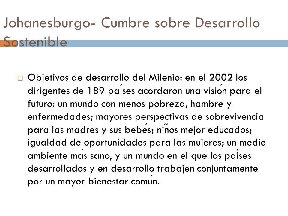 Johanesburgo- Cumbre sobre Desarrollo Sostenible Objetivos de desarrollo del Milenio: en el 2002 los dirigentes de 189 paises acordaron una vision par