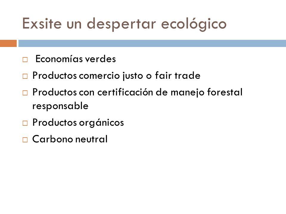 Exsite un despertar ecológico Economías verdes Productos comercio justo o fair trade Productos con certificación de manejo forestal responsable Productos orgánicos Carbono neutral