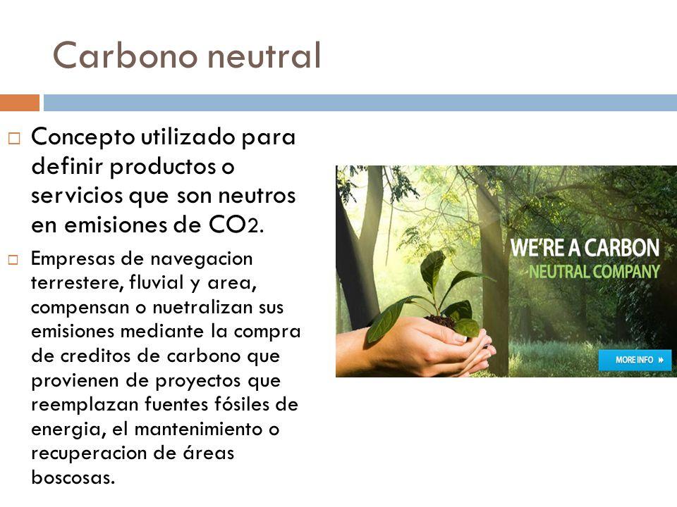 Carbono neutral Concepto utilizado para definir productos o servicios que son neutros en emisiones de CO 2. Empresas de navegacion terrestere, fluvial