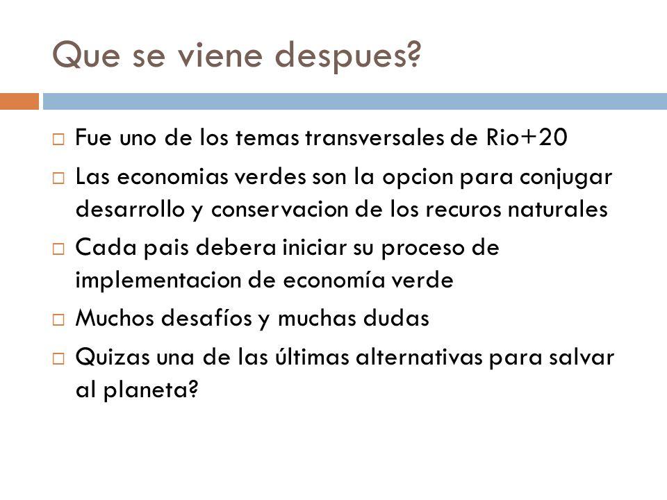 Que se viene despues? Fue uno de los temas transversales de Rio+20 Las economias verdes son la opcion para conjugar desarrollo y conservacion de los r