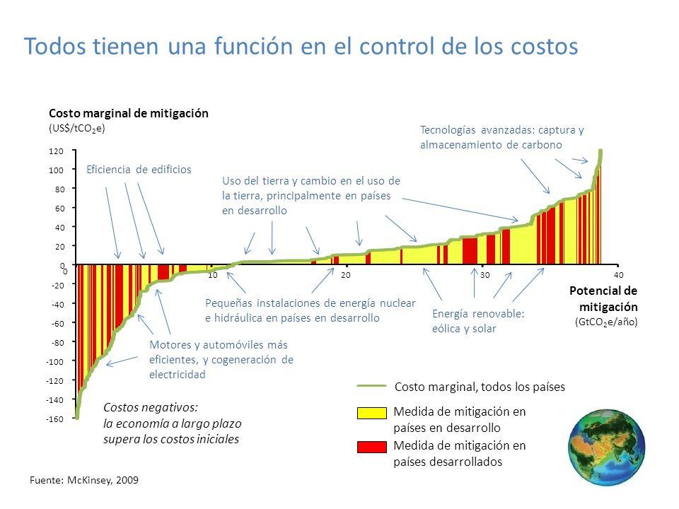 Todos tienen una función en el control de los costos -160 -140 -120 -100 -80 -60 -40 -20 0 40 60 80 100 120 0 10203040 Costo marginal de mitigación (US$/tCO 2 e) Potencial de mitigación (GtCO 2 e/año) Costo marginal, todos los países Medida de mitigación en países en desarrollo Medida de mitigación en países desarrollados Costos negativos: la economía a largo plazo supera los costos iniciales Tecnologías avanzadas: captura y almacenamiento de carbono Eficiencia de edificios Motores y automóviles más eficientes, y cogeneración de electricidad Uso del tierra y cambio en el uso de la tierra, principalmente en países en desarrollo Pequeñas instalaciones de energía nuclear e hidráulica en países en desarrollo Energía renovable: eólica y solar Fuente: McKinsey, 2009