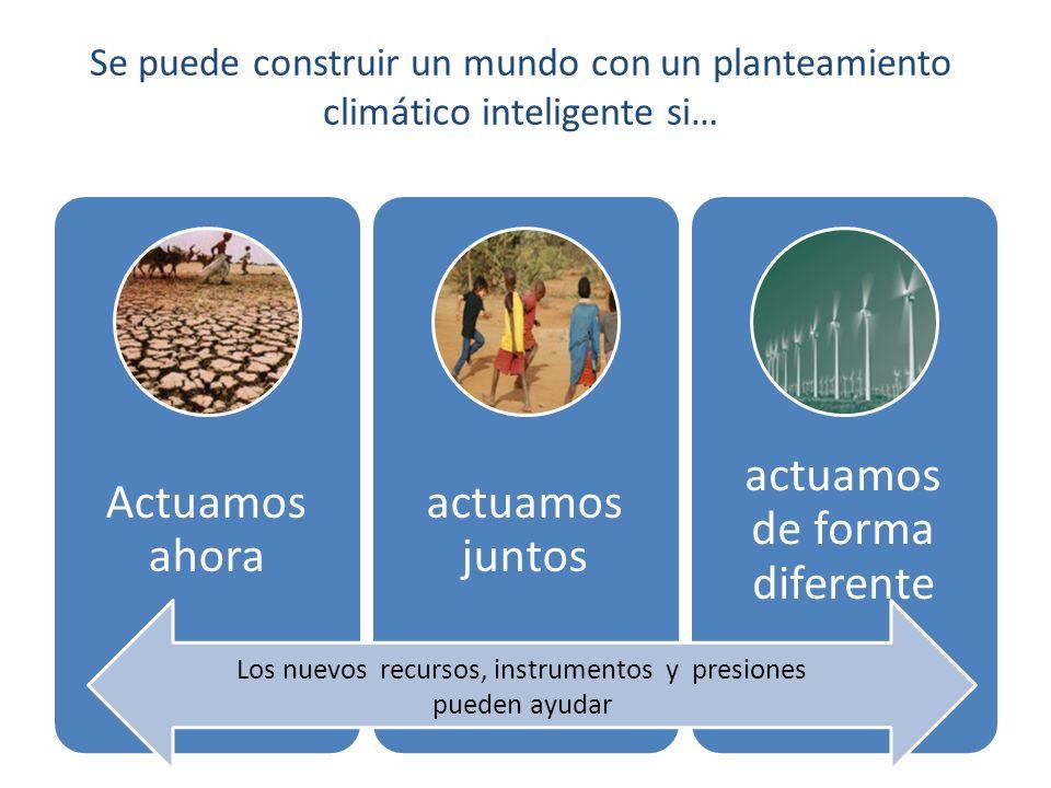 New finance, new instruments and new pressures are helping build momentum Se puede construir un mundo con un planteamiento climático inteligente si… Actuamos ahora actuamos juntos actuamos de forma diferente Los nuevos recursos, instrumentos y presiones pueden ayudar