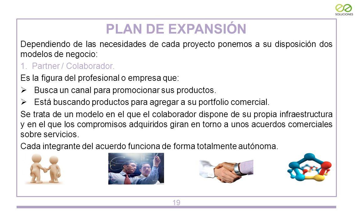 PLAN DE EXPANSIÓN Dependiendo de las necesidades de cada proyecto ponemos a su disposición dos modelos de negocio: 1.
