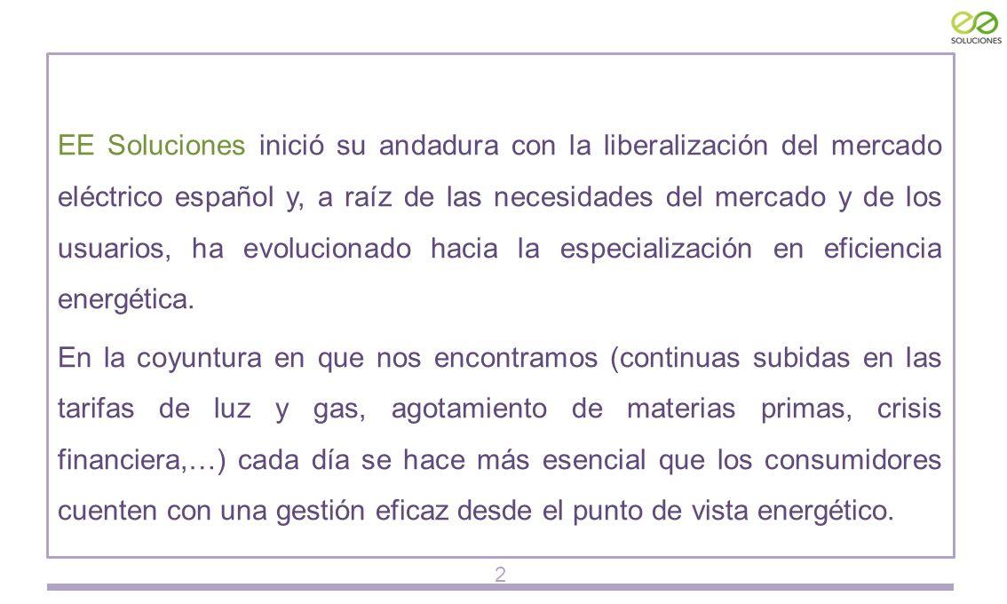 EE Soluciones inició su andadura con la liberalización del mercado eléctrico español y, a raíz de las necesidades del mercado y de los usuarios, ha evolucionado hacia la especialización en eficiencia energética.
