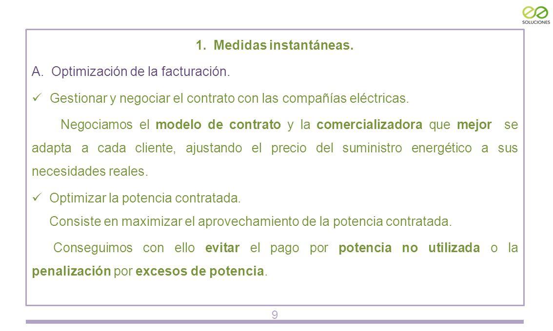 1. Medidas instantáneas. A. Optimización de la facturación.