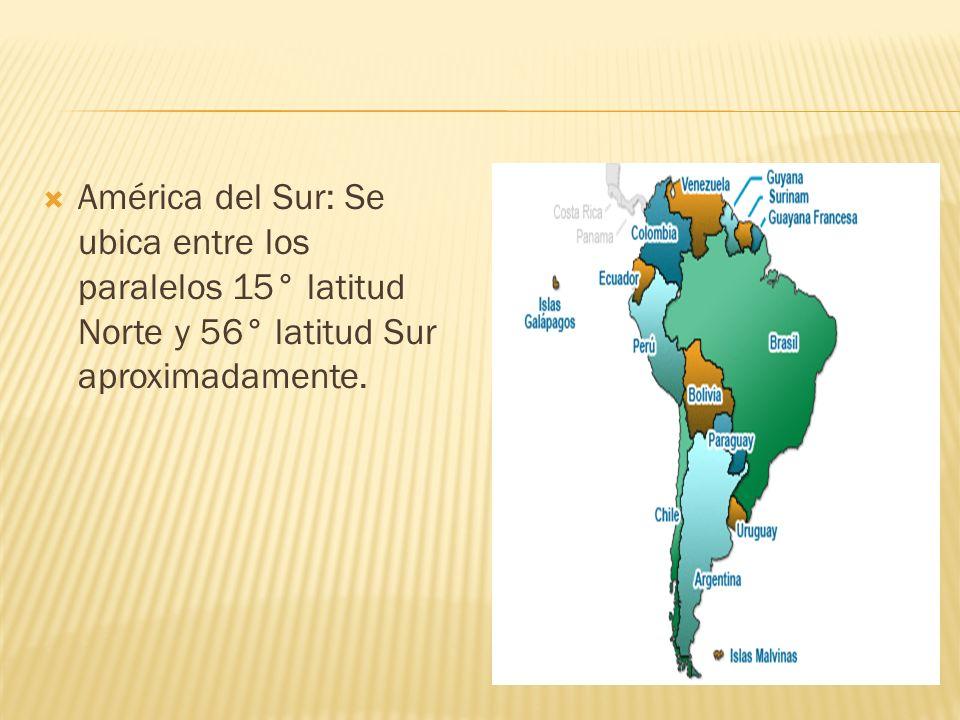 America del Norte: se ubica entre los paralelos 8° y 20° de latitud Norte. America Central: Angosta faja de tierra que une América del Norte con Améri
