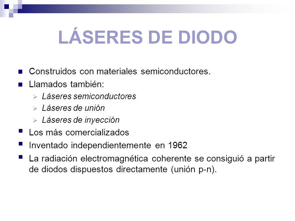 LÁSERES DE DIODO Construidos con materiales semiconductores. Llamados también: Láseres semiconductores Láseres de unión Láseres de inyección Los más c