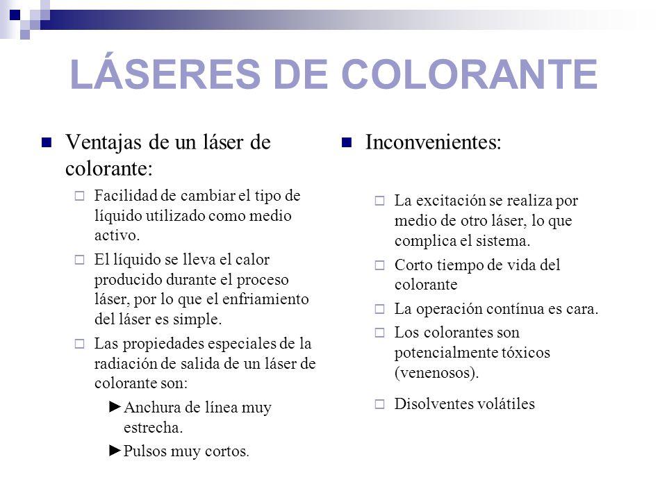 LÁSERES DE COLORANTE Ventajas de un láser de colorante: Facilidad de cambiar el tipo de líquido utilizado como medio activo. El líquido se lleva el ca