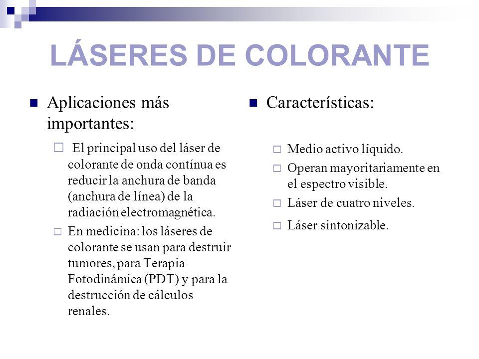 LÁSERES DE COLORANTE Aplicaciones más importantes: El principal uso del láser de colorante de onda contínua es reducir la anchura de banda (anchura de