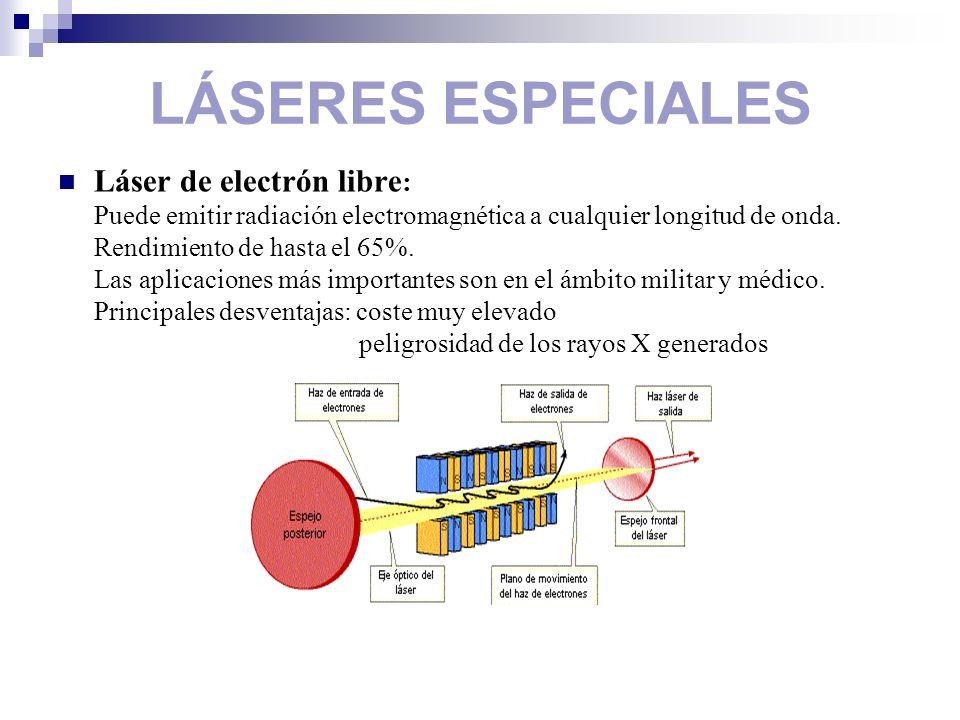 LÁSERES ESPECIALES Láser de electrón libre : Puede emitir radiación electromagnética a cualquier longitud de onda. Rendimiento de hasta el 65%. Las ap