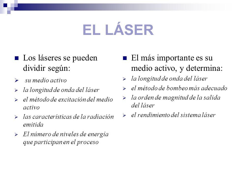 EL LÁSER Los láseres se pueden dividir según: su medio activo la longitud de onda del láser el método de excitación del medio activo las característic