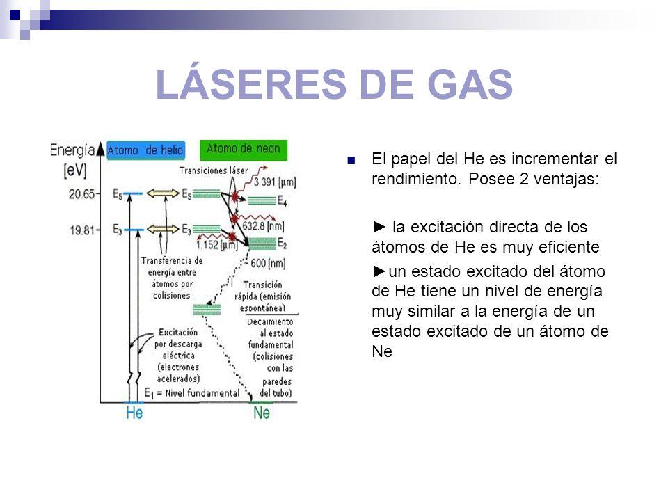 LÁSERES DE GAS El papel del He es incrementar el rendimiento. Posee 2 ventajas: la excitación directa de los átomos de He es muy eficiente un estado e