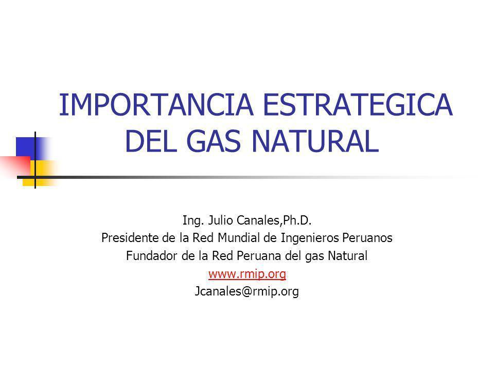 IMPORTANCIA ESTRATEGICA DEL GAS NATURAL Ing. Julio Canales,Ph.D. Presidente de la Red Mundial de Ingenieros Peruanos Fundador de la Red Peruana del ga