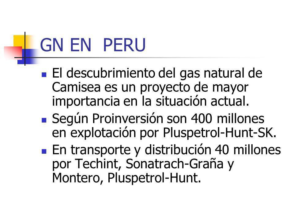 GN EN PERU El descubrimiento del gas natural de Camisea es un proyecto de mayor importancia en la situación actual. Según Proinversión son 400 millone